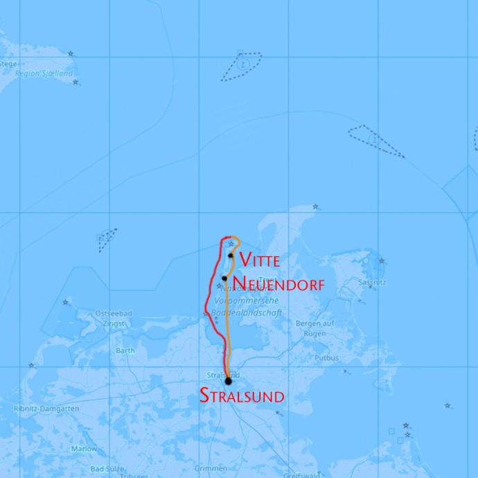 Hiddensee Segeln von Stralsund in Mecklenburg Vorpommern über die Ostsee