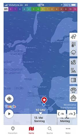 Mitsegelurlaub Segelzeit / Wetterkarte Stralsund am 13. Mai